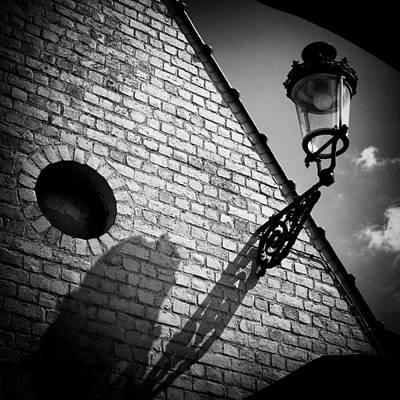 Street Photograph - Lamp With Shadow by Dave Bowman
