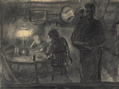 Lamplight In The Cabin Print by Willoughby Senior