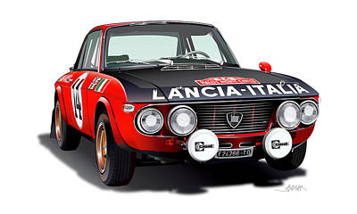 Digital Fine Art Drawing - Lancia Fulvia Hf Illustration by Alain Jamar