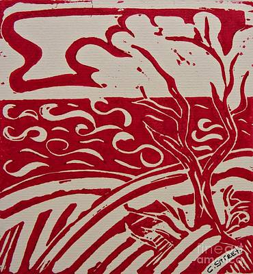 Abstract Seascape In Red  Print by Caroline Street
