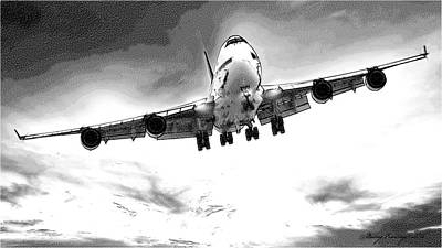 Airliners Drawing - Boeing 747 by Maciej Froncisz