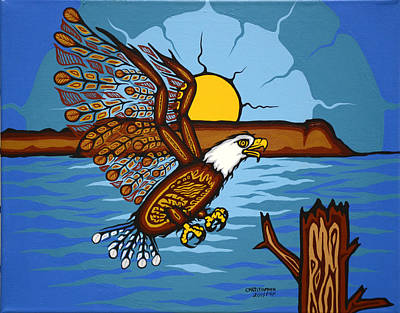 Lake Superior Art Gallery Painting - Landing Eagle by Christopher Fox