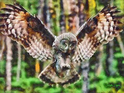 Forest Digital Art - Landing Owl - Da by Leonardo Digenio