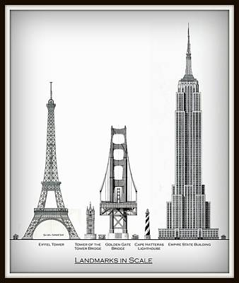 Empire State Building Drawing - Landmarks In Scale - Vignette by Gene Nelson