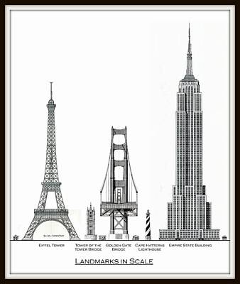 Empire State Building Drawing - Landmarks To Scale by Gene Nelson