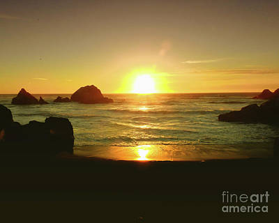 Reflections Photograph - Lands End Sunset-the Golden Hour by Scott Cameron