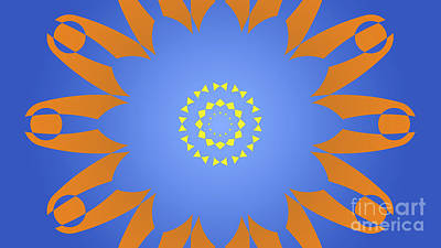Abstracto Drawing - Landscape Abstract Blue, Orange And Yellow Star by Pablo Franchi
