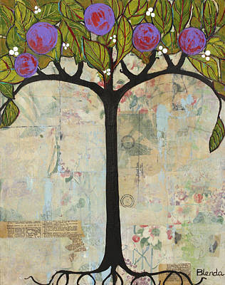 Fruit Tree Art Painting - Landscape Art Tree Painting Past Visions by Blenda Studio