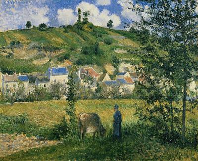 Landscape At Chaponval Print by Camille Pissarro