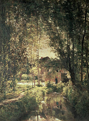 Reflecting Tree Painting - Landscape by Charles Francois Daubigny