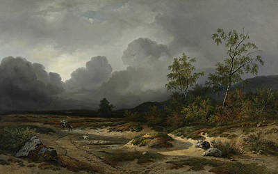 Landscape In An Approaching Storm Print by Willem Roelofs