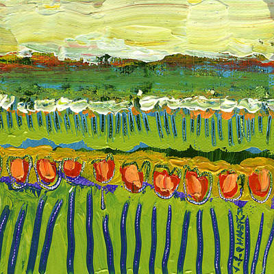 Landscape In Green And Orange Print by Jennifer Lommers