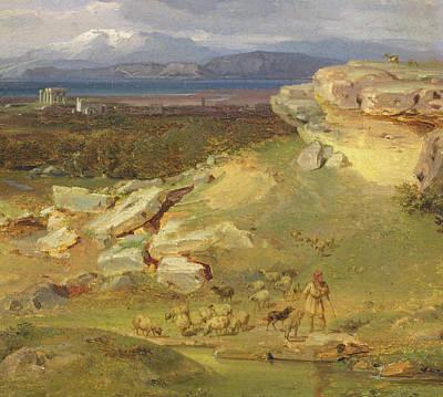 Temple Painting - Landscape Near Corinth by Carl Rottmann