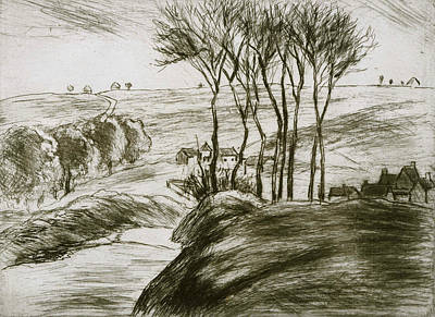 Landscape Near Osny  Print by Camille Pissarro
