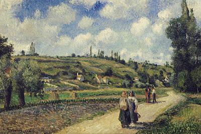 Landscape Near Pontoise The Auvers Road Print by Camille Pissarro