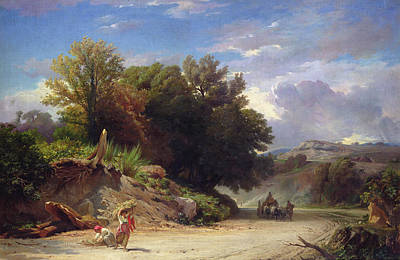 Landscape On The Outskirts Of Rome Print by Jean Achille Benouville
