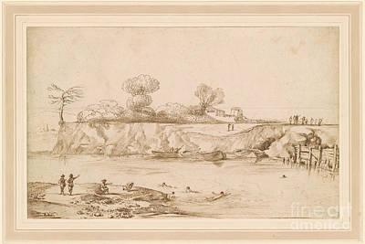 Giovanni Francesco Barbieri Painting - Landscape River With Bathers by Giovanni Francesco Barbieri