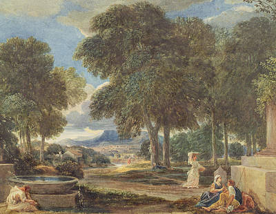 Landscape With A Man Washing His Feet At A Fountain Print by David Cox