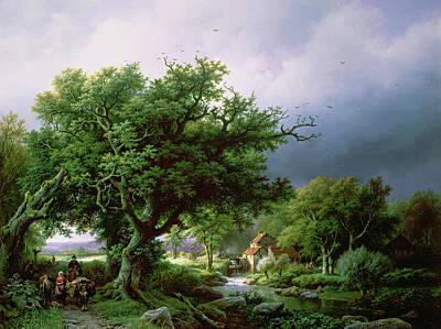 Landscape With A Mill Print by Barend Cornelis Koekkoek
