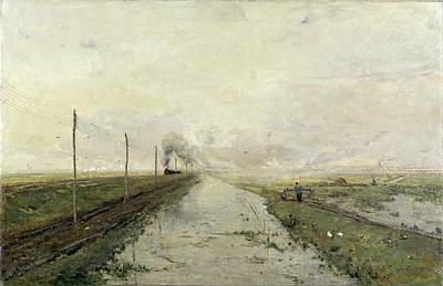 Paul Gabriel Painting - Landscape With A Train by Paul Gabriel
