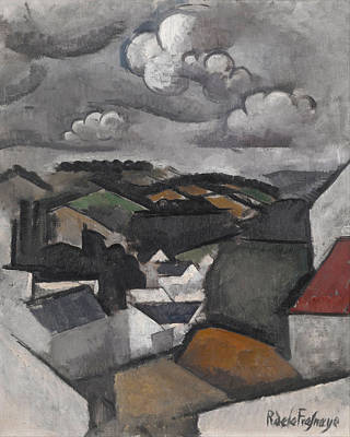 Roger De La Fresnaye Painting - Landscape With A Village. The Hills Beyond Meulan by Roger de La Fresnaye