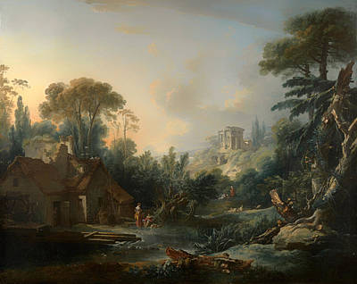Temple Painting - Landscape With A Water Mill by Mountain Dreams