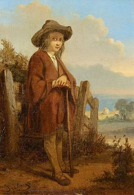 Blue Painting - Landscape With A Youth by Eugene Isabey