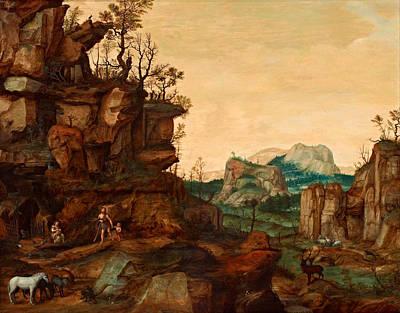 Cornelis Van Dalem Painting - Landscape With Adam And Eve by Cornelis van Dalem
