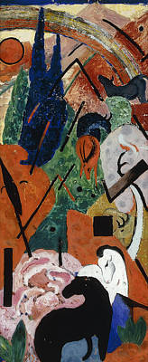 Avant Garde Mixed Media - Landscape With Animals And Rainbow by Franz Marc
