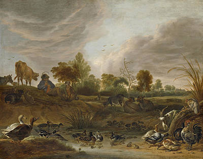 Cornelis Saftleven Painting - Landscape With Animals by Cornelis Saftleven