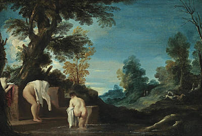 Guercino Painting - Landscape With Bathing Women by Guercino