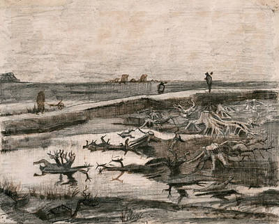 Post Drawing - Landscape With Bog Trunks  by Vincent van Gogh