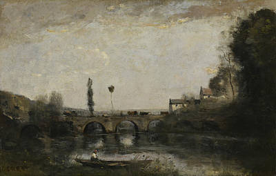Jean-baptiste Art Painting - Landscape With Bridge by Jean-Baptiste-Camille Corot