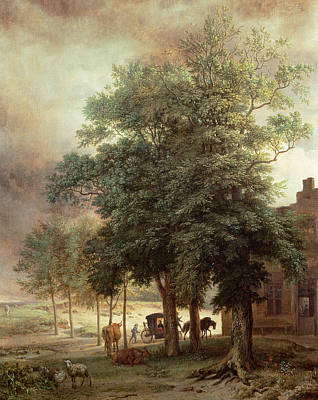 Bucolic Scenes Painting - Landscape With Carriage Or House Beyond The Trees by Paulus Potter