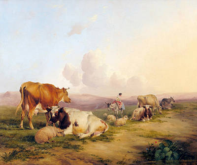 Cow Boy Painting - Landscape With Cattle And Sheep by MotionAge Designs