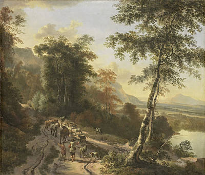 Painting - Landscape With Cattle Drivers by Jan Hackaert