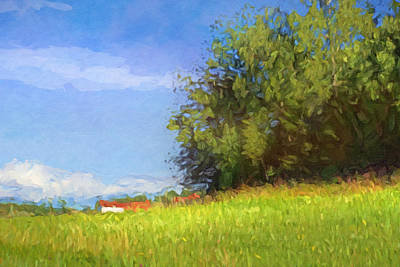 Mood Painting - Landscape With Farm by Lutz Baar