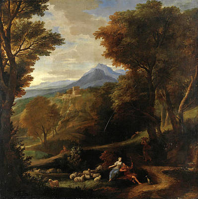 Painting - Landscape With Farmers At Rest With The Herd by Carlo Antonio Tavella