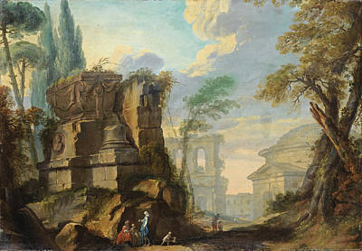 Jean Barbault Painting - Landscape With Figures Among Roman Ruins by Jean Barbault