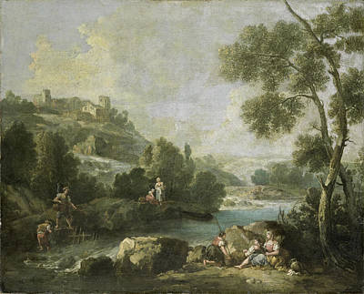 Painting - Landscape With Figures by Attributed to Giuseppe Zais