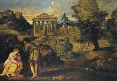 Painting - Landscape With Figures Possibly The Journey To Bethlehem by Giovanni Battista Franco