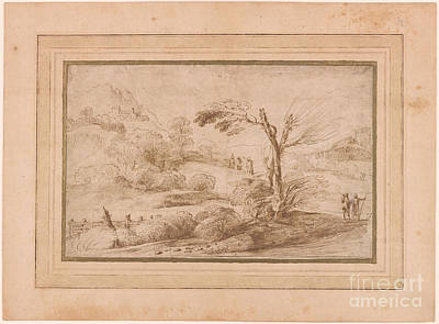 Giovanni Francesco Barbieri Painting - Landscape With Five Figures And Fence by Giovanni Francesco
