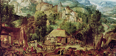 Horse And Cart Painting - Landscape With Forge  by Herri met de Bles