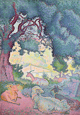 Farmhouse Painting - Landscape With Goats by Henri-Edmond Cross