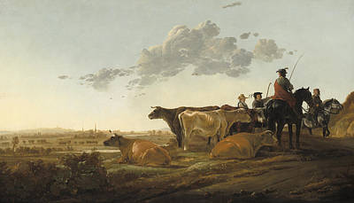 Landscape With Herdsmen Print by Aelbert Cuyp