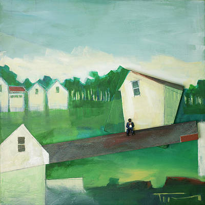 Landscape With Man On Lath Print by Tim Nyberg