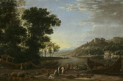 Landscape With Merchants Print by Claude Lorrain