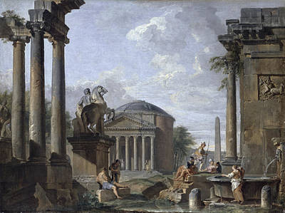 Temple Painting - Landscape With Roman Ruins by Giovanni Paolo Panini
