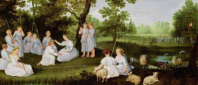 Seventeenth Century Painting - Landscape With Shepherds And Shepherdesses by Flemish School