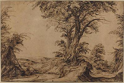 Landscape With Sleeping Peasants Print by Jacques De Gheyn Ii